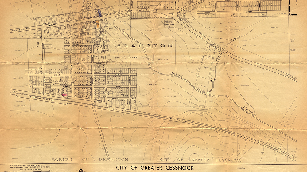 A plan showing the location of Commercial Hotel, Branxton, Royal 	Federal Hotel, Branxton, circa 1962