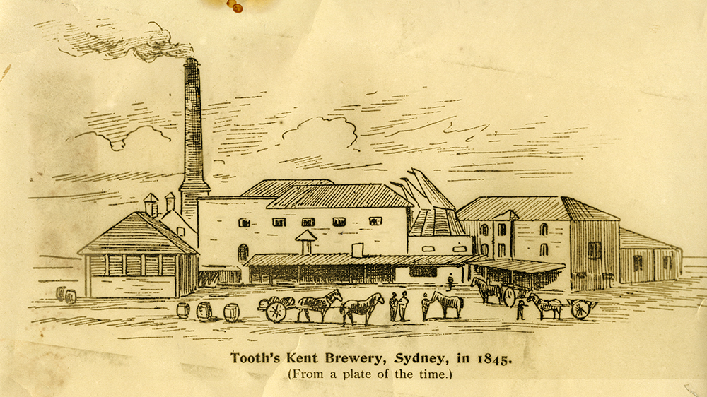 Tooth's Kent Brewery, Sydney, in 1845. (From a plate of the time.)